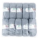 Gründl Shetland, Vorteilspackung 10 Knäuel à 100 g Handstrickgarn, 80% Polyacryl, 20% Wolle, grau, 55 x 40 x 10 cm