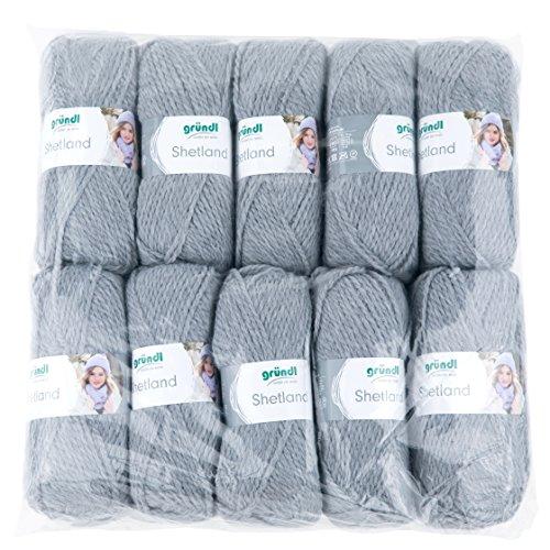 Gründl Shetland, Vorteilspackung 10 Knäuel à 100 g Handstrickgarn, 80% Polyacryl, 20% Wolle, Grau, 55 x 40 x 10 cm (Shetland Strickjacke Wolle)