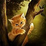 Yeesam Art 5D-Strassstein-Malset, Motiv: Kätzchen auf dem Baum, 30 x 30 cm,Strassperlen-Gemälde zum Selbstgestalten, Malen nach Zahlen, Kreuzstich-Stickerei