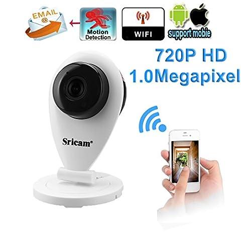 SRICAM Caméra IP sans Fil Intérieure 720p Wifi Caméra Portable