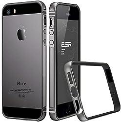 ESR Coque pour iPhone Se, Armature du Cadre en métal avec Habillage antichocs Souple pour iPhone 5S, Coque Rigide antichocs en métal. Cadre de Protection pour iPhone SE/5S/5 (Bumper Noir)