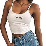 Donne Crop Top, Tukistore Women's Summer Sexy Sexy Honey Honey Stampato Sexy Spalla Cami Canotta Canotte Spaghetti Strap Bustier Vest Camicetta