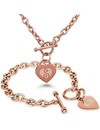 Acero Inoxidable Letra del Alfabeto S Inicial Encanto del Corazón del Grabado Pulsera y Collar