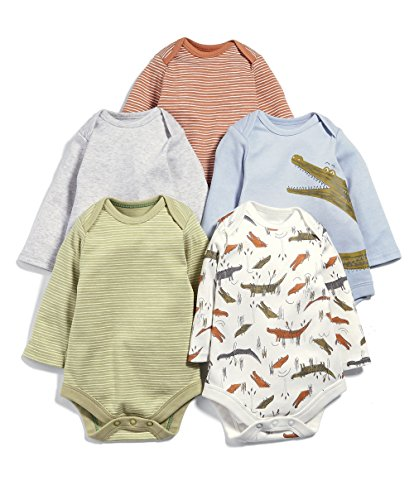 Mamas & Papas Pack of 5 Snappy Long Sleeved Bodysuit, Body para Bebés