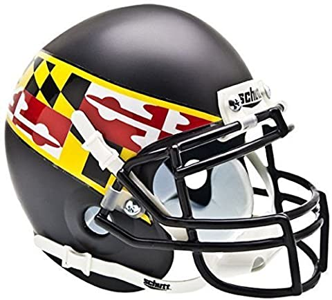 MARYLAND TERRAPINS NCAA Schutt XP Authentic MINI Football Helmet (MATTE BLACK/FLAG) by Schutt