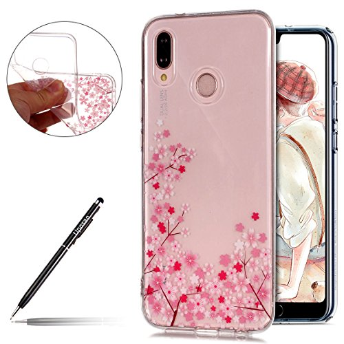 Uposao Huawei P20 Lite Coque Transparente Motif Fleurs de Cerisier Rose Pink Elle Beau Vintage Coque.