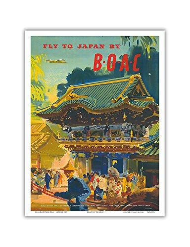 Pacifica Island Art Fly to Japan durch BOAC-British Overseas Airways Corporation-Vintage Airline Travel Poster von Frank Barbara c.1950s-Master Kunstdruck 9