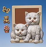 Reliefformen/Gießformen/Gipsfiguren Bild mit Katzen und Dekoteile
