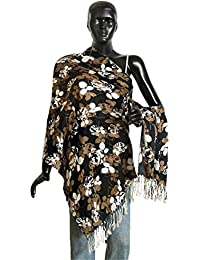 DollsofIndia Black Light Woolen Stole With White & Brown Floral Print - 27 X 68 Inches (NQ04) - White, Brown