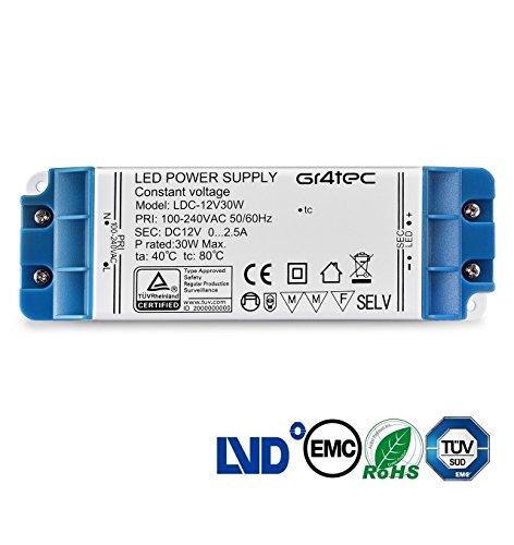 LED Trafo 12V 30W, Gr4tec LED Trafo Transformator 230V auf 12V DC 2.5A EMC Netzteil Treiber für LED G4 MR16 MR11 Strip 100V - 240V Überlastungsschutz Temperatursicherung ohne Mindestlast 0,5 - 30 Watt (12v Dc Treiber)