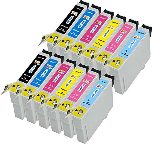 12 Tintenpatronen Epson T0797 XL für Stylus Photo 1400 1500 W P 50 PX 650 700 710 Serie W 730 WD 800 FW Series 810 830 FWD 720 WD 820 T0791 T0792 T0793 T0794 T0795 T0796 ()