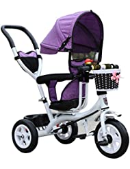 Carrito de bebé Triciclo Baby Carriage Bicicleta de juguete infantil Trolley Bicicleta de rueda inflable 3 ruedas, asiento giratorio (Niño / Niña, 1-3-5 años de edad) BICICLETA