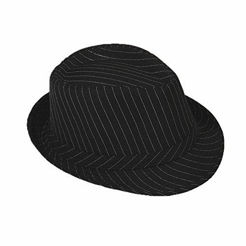 Strohhut Panama Fedora Trilby Gangster Hut Sonnenhut mit Stoffband (54, Schwarz mit weißen (Kind Hut)