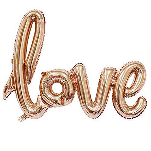 Cratone Love Buchstaben-Ballon, mehrfarbig, romantisches Banner-Set für Jahrestag, Hochzeit, Valentinstag 108 * 64cm gold