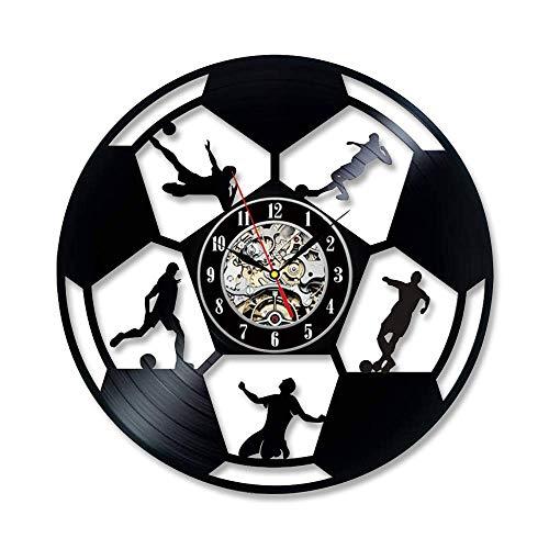 Vinyl Cd Rekord Wanduhr Modernes Design Kreative Fußball Uhren Jungen Zimmer Schwarz Wanduhr Quarz Wohnkultur 12 Zoll Mit Led