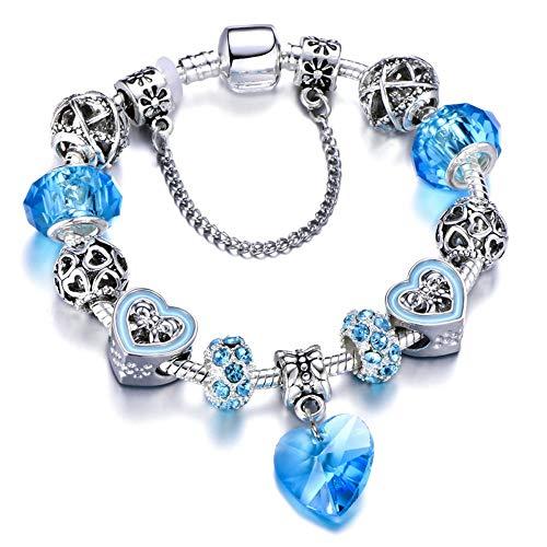 ZKZDSL Armband Liebe Herz Armband Mit Rosa Krone Perlen Passt Marke Armbänder Für Frauen Schmuck Blau, 18Cm (Kirche Damen Passt)