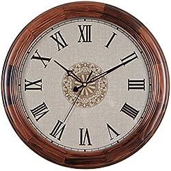 Reloj de madera grande,Relojes de pared silencioso de vintage Sala,Tabla de reloj de dormitorio Reloj de pared creativo redondo Decoración-B 14pulgada