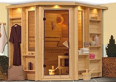 Cortona - Karibu Sauna Premium inkl. 9-kW-Ofen von Woodfeeling GmbH - Du und dein Garten