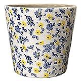 chemin_de_campagne Pot Cache Pot Jardinière Motifs Fleurs Bleu Terre Cuit Emaillé ø14 cm