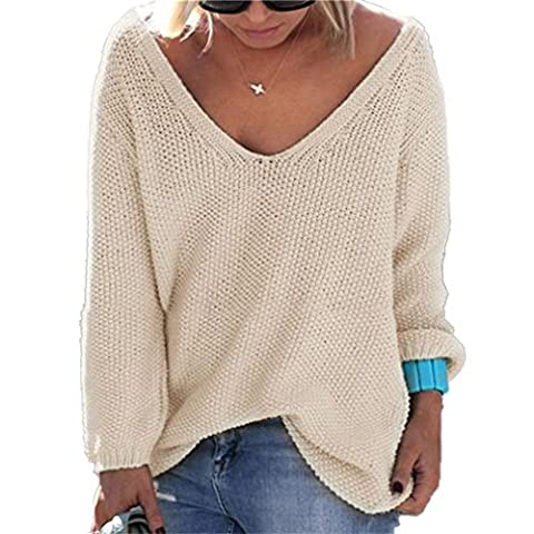 Honghu Loose Manches Longues Collier V Garder au Chaud Pull Femme Casual Pullover Sweater Taille L Beige