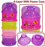 #10: Baby Kids 4 Layers Milk Powder Case Bottle Dispenser, Travel Feeding Container Baby Milk Powder Formula Dispenser Stackable Food Pots Snack Container - Four Layer Case