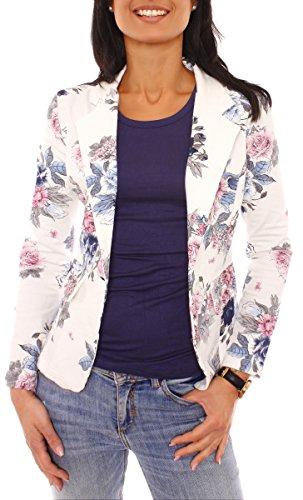 Damen Sommer Sweat Jersey Blazer Jacke Sweatblazer Jerseyblazer Sakko Kurz Ungefüttert Langarm Geblümt Blumen-Muster Rosa-Blau XS - 34 (S)