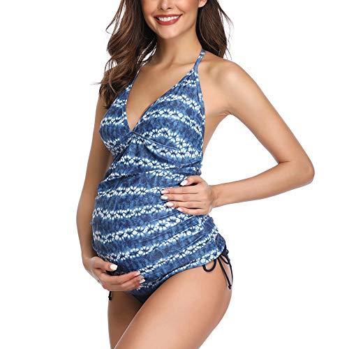 Traje de baño Mujer Maternidad Premamá Rayas bañador de Dos Piezas Embarazada Bikini