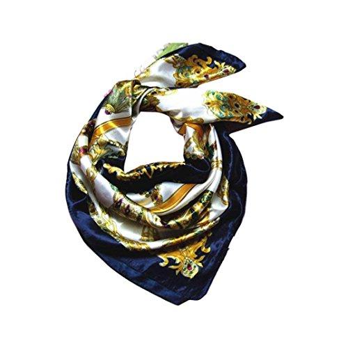 URSING Mode Frauen Quadratischer Schal Hochwertiger Schal Damenschal Schalkragen Wickelschal Damen Schal Frühling Herbst Winter Nachgemachte Seide Platz Schals Seidenschal 90X90cm (Navy) (Rote Seide Weihnachten Kleid)