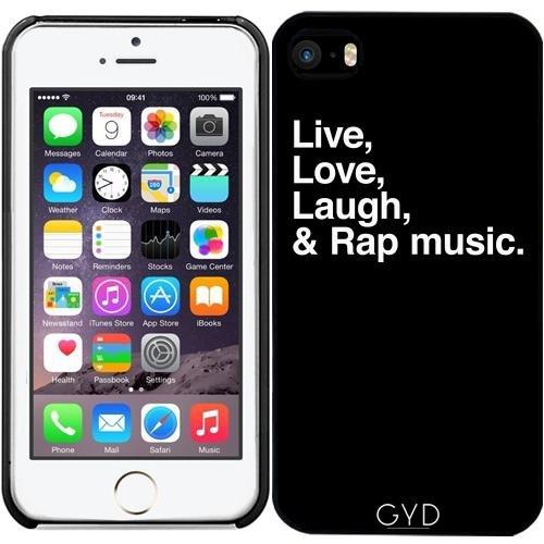 Leder Flip Case Tasche Hülle für Apple iPhone 6 Plus / 6S Plus - Rapmusik by wamdesign Starre Kunststoff