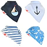 Fun Baby and Toddler Bandana Bib - Absorbent 100% Cotton Front Dribble Bibs with Adjustable Straps (4 Pack Gift Set) Boys Nautical Sailor