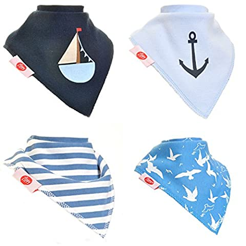 Zippy Fun Baby and Toddler Bandana Bib - Absorbent 100% Cotton Front Dribble Bibs with Adjustable Straps (4 Pack Gift Set) Boys Nautical Sailor