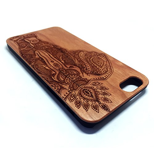 Cover iPhone 6 Plus/6S Plus, Custodia Apple 6 Plus/6S Plus, Custodia Case Cover di legno Naturale per Apple iPhone 6 Plus/6S Plus(5.5 Pollici)Bumper Rigida Cellulare Cover Protettiva in vero Legno Woo Cherry Elephant