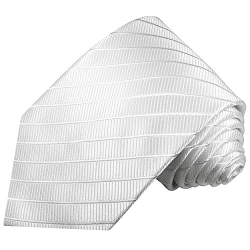 Cravate homme blanc uni rayée 100% cravate en soie ( longueur 165cm )