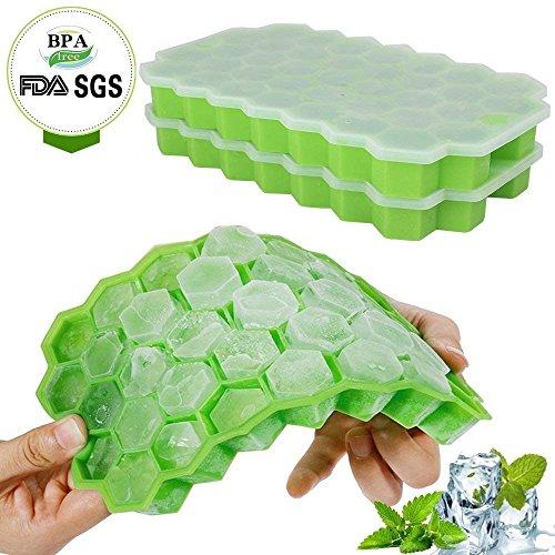 Eiswürfelform Silikon mit Deckel, Eiswürfelbehälter, 2 Stücke Ice Cube Tray, Eiswürfelbereiter BPA Frei, 37-fach Eiswürfel, für whisky, cocktail,Babynahrung, Saft, Soda, LFGB Zertifiziert, Einfach zu bedienen und Waschen(grün)