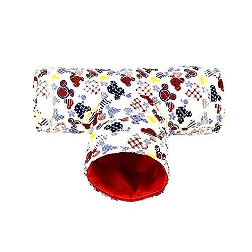 Hamster Spielzeug Tunnel Pet Kleiner Cartoon 3 Way Pet Tubes Bett-Nest für Kaninchen Frettchen Meerschweinchen (beige)