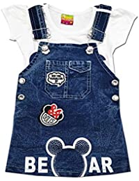 58c6e05dd Kid's Care Fashion Baby Girl's Denim Jeans Dungaree Dress Frock with  T-Shirt Set(