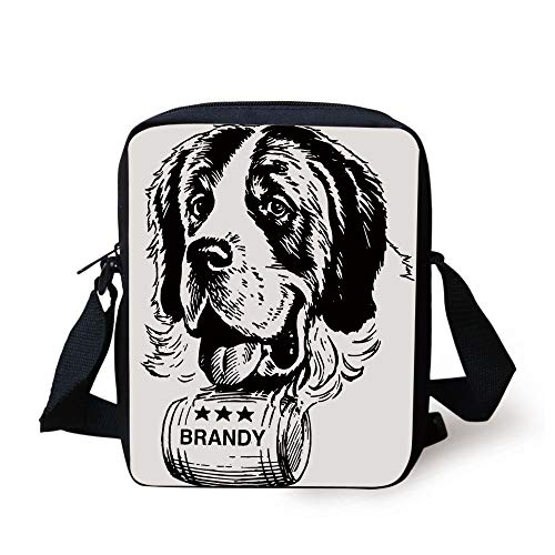 Man Cave Decor,Sketch of Saint Bernard Rolling a Keg of Brandy Whiskey Stars Retro Decorative,Black and White Print Kids Crossbody Messenger Bag Purse -