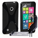 Yousave Accessories Coque Nokia Lumia 530 Etui Noir Silicone Gel X-Ligne Housse Avec Mini Stylet Et Chargeur De Voiture
