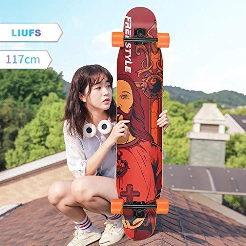 WENYAO Skateboards 46-Zoll-Skateboard Langes Brett Big Dance Board Scooter Erwachsene Flash Wheel Skateboard Professional Board Mädchen Anfänger