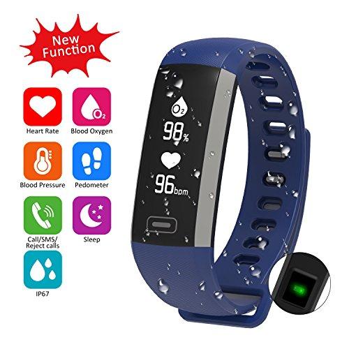Fitness Armband Uhr mit Pulsmesser Blutdruck Monitor Fitness Tracker Wasserdicht Aktivitätstracker Schrittzähler Schlaf Monitor,Kalorienzähler Anruf / SMS Benachrichtigung für Android 4.4, IOS 8.0 (Blau)