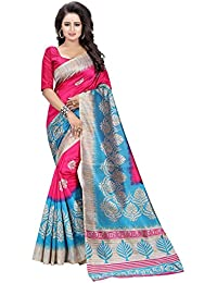 MAC Sarees Women's Cotton Silk Saree With Blouse Piece (MAC09_Pink)