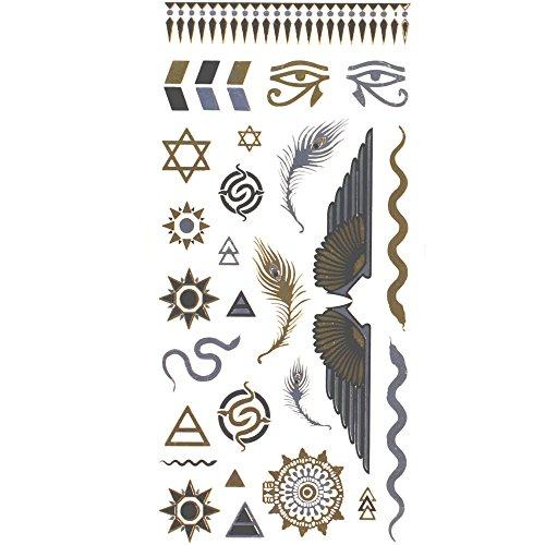tattoos-ephemeres-farbe-metall-feder-agypten-etoile-schmuck-fur-haut-tattoo