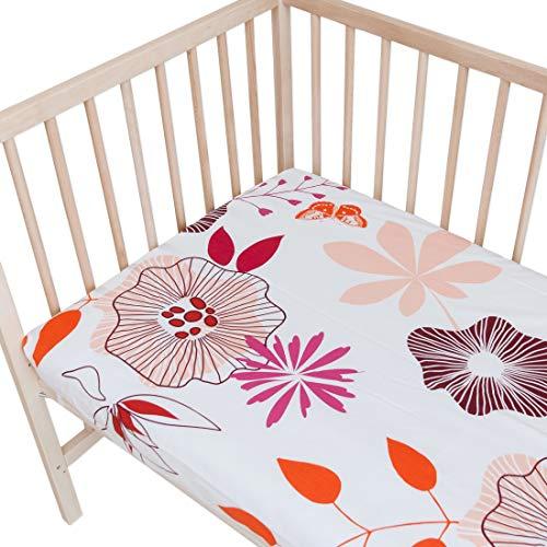 Coquetas flores - Pati'Chou 100% Algodón Juego de 2 sábanas bajeras ajustables para cama infantil 70 x 160 cm