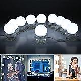 LED Spiegelleuchte Hollywood Stil 10 Dimmbare LED Kugellampe Kit 6000K Weiß Beleuchtung mit 12V Netzteil für Kosmetikspiegel, Schminktisch Spiegel, Badzimmer Spiegel LED Schminktisch