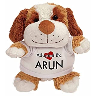 Adopted By TB2 Arun Cuddly Dog Teddy Bear Wearing a Printed Named T-Shirt