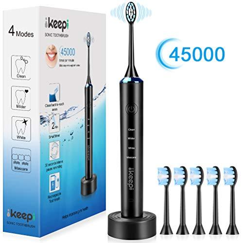 IKEEPI Cepillo de dientes eléctrico recargable Sonic con 5 cabezales de repuesto, carga inalámbrica, negro