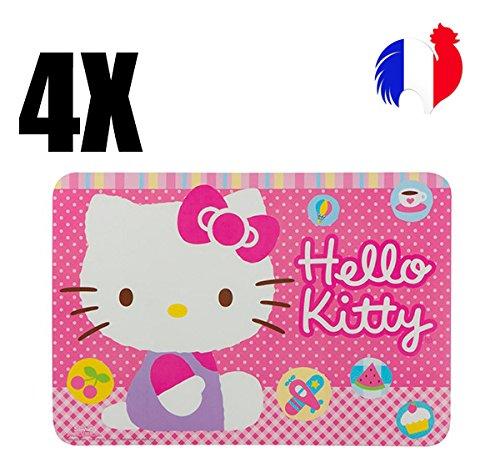 4 sets de table Hello Kitty, set de table enfant, anniversaire, original, princesse, set de table plastique, pvc, dessous de plat