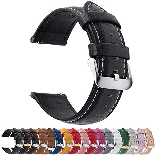 Fullmosa 12 Farben Uhrenarmband, Axus Serie Lederarmband Ersatz-Watch Armband mit Edelstahl Metall Schließe für Herren Damen 14/16/18/20/22/24mm,Schwarz 20mm