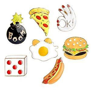 MJARTORIA Damen Mädchen Jungen Emaille Brosche Set Hamburger Pizza Hot Dog Anstecker für Kleider Umhang Kragen Vintage Pins 7PCS