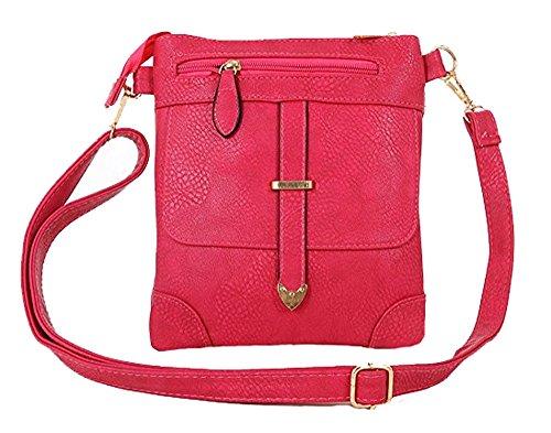 KUKUBIRD tasca con zip Tote di corsa MESSENGER ECOPELLE DESIGNER BORSA Pink